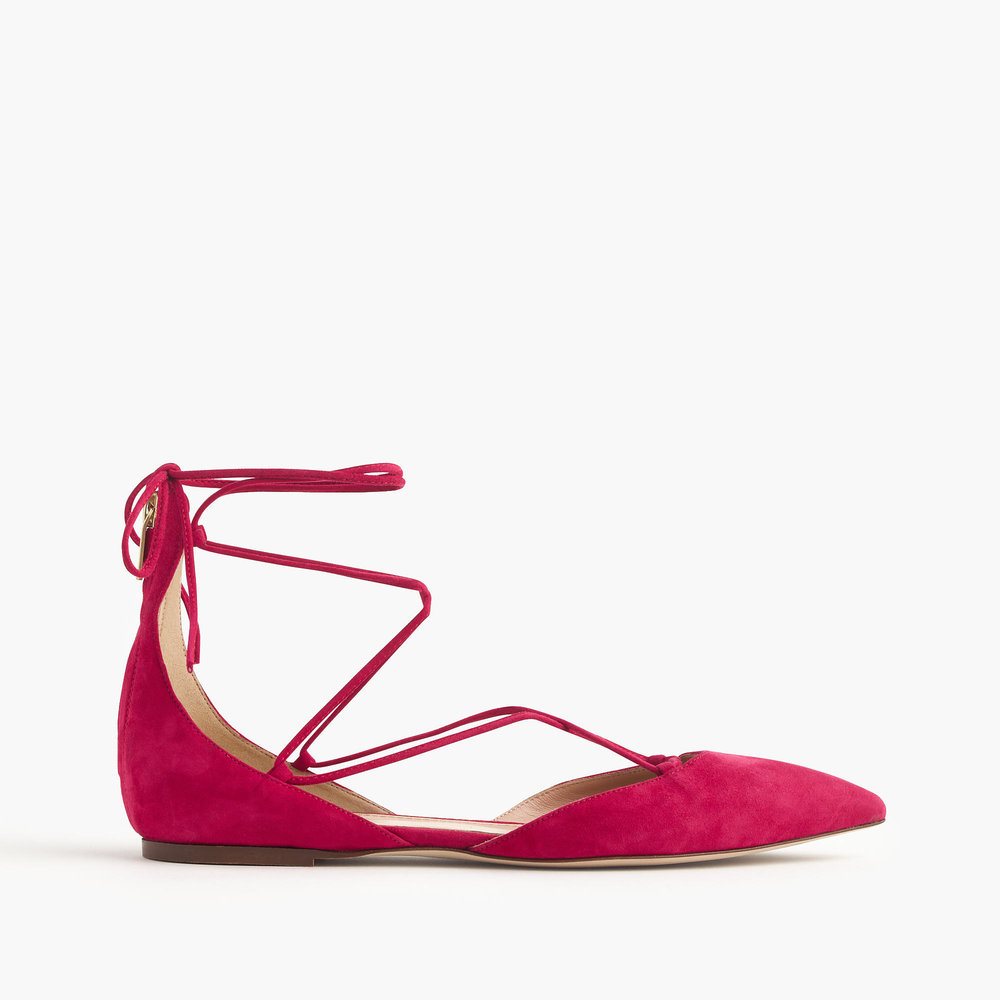 Suede lace-up pointed-toe flats. Available in black, pink. J.Crew. Was: $158. Now: $148.