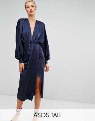 ASOS TALL Shoulder Pad Long Sleeve Selenia Midi Dress. ASOS. $87.