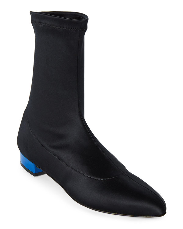 GIA COUTURE Black & Blue Satin Sock Booties. Century 21. Was: $450. Now: $219.
