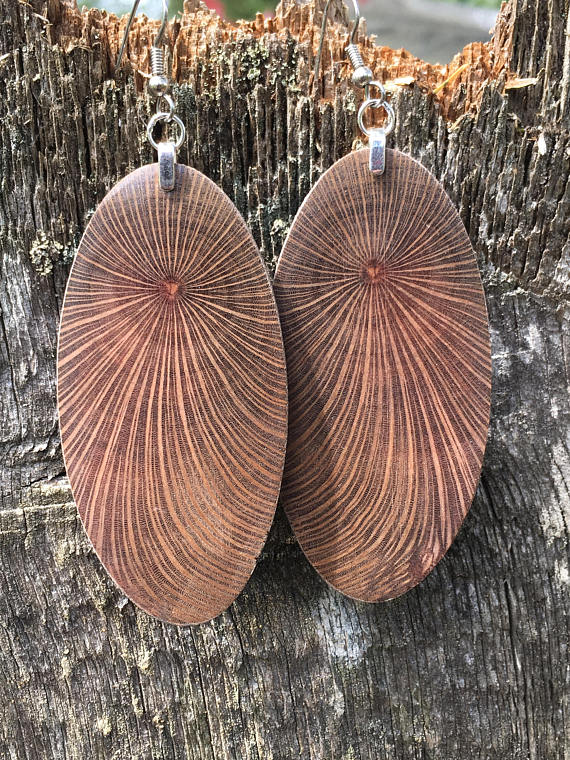 Very Large Lightweight Macadamia Wood Earrings. Forest Light Creations. $69.