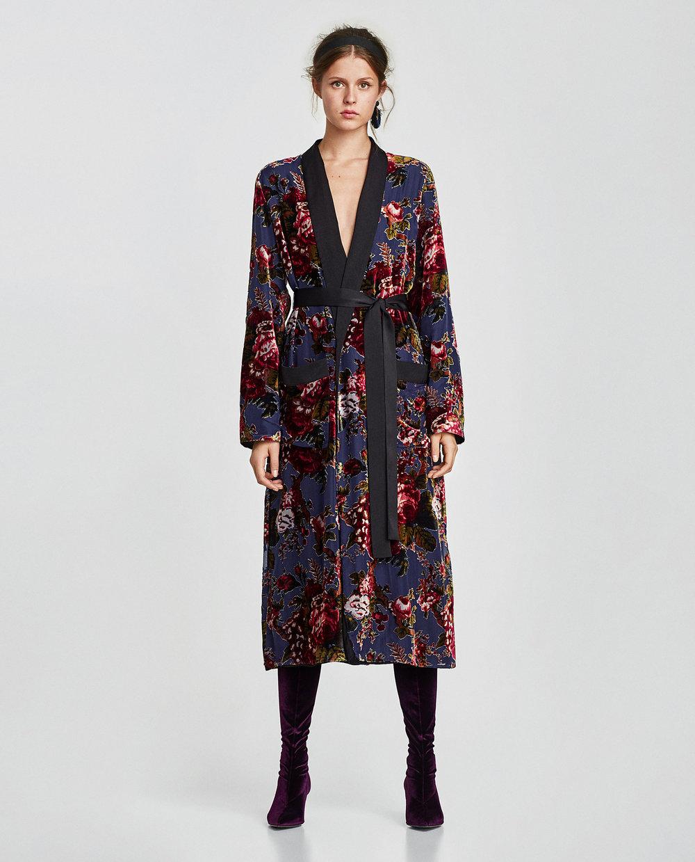 CONTRASTING VELVET KIMONO. Zara. $129.