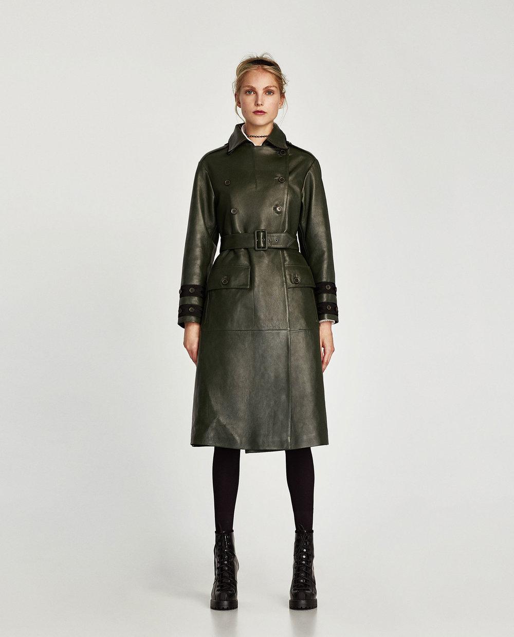 LEATHER TRENCH COAT. Zara. $479.