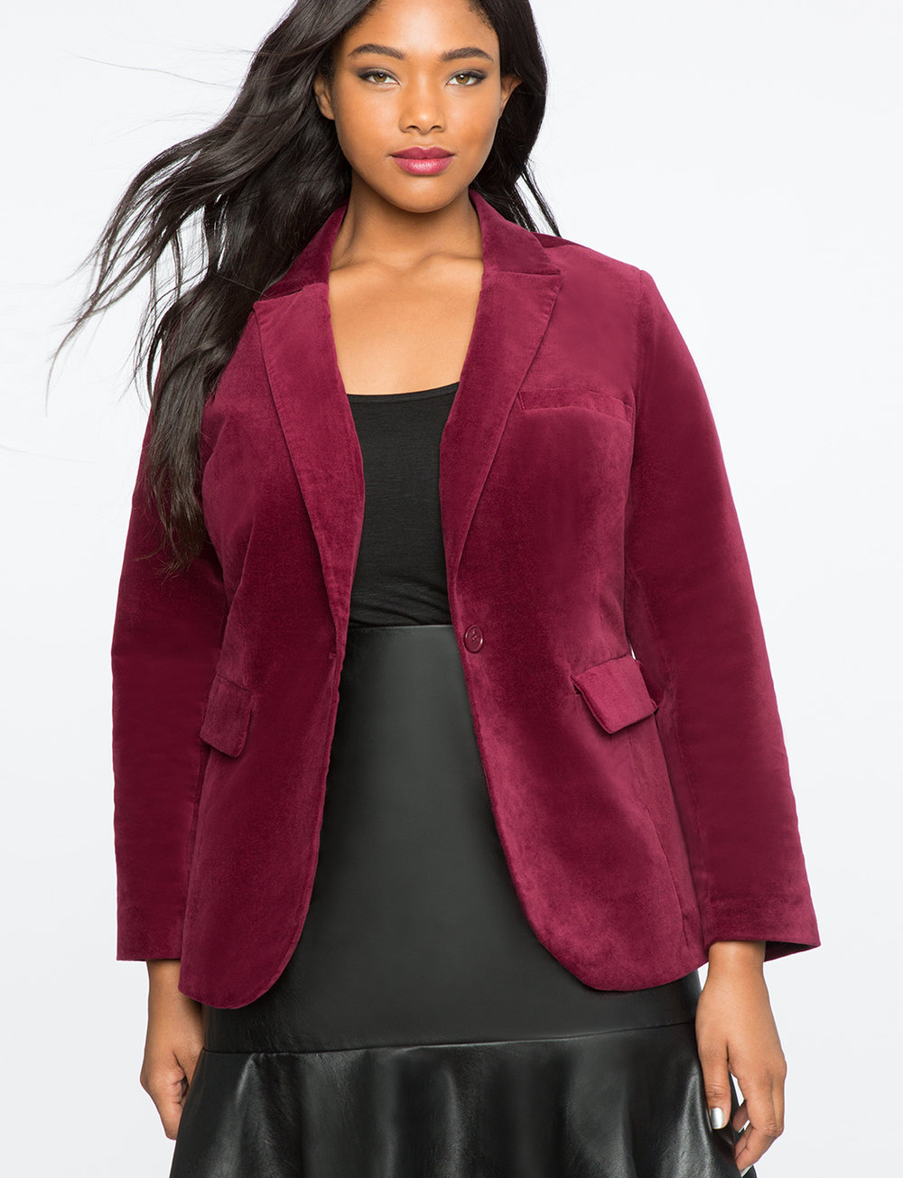 Velvet Blazer. Available in two colors. Eloquii. Was: $129. Now: 40% off with code: TREAT.