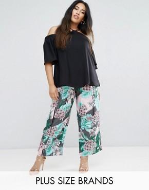 River Island Plus Size Floral Print Wide Leg Cropped Pants. ASOS. $64.