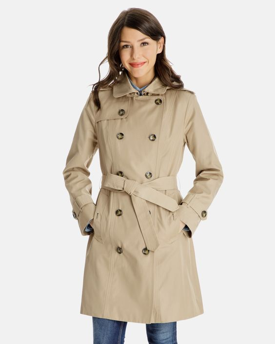 SHAWNA DOUBLE-BREASTED TRENCH COAT WITH REMOVABLE HOOD. Available in multiple colors. London Fog. $99.