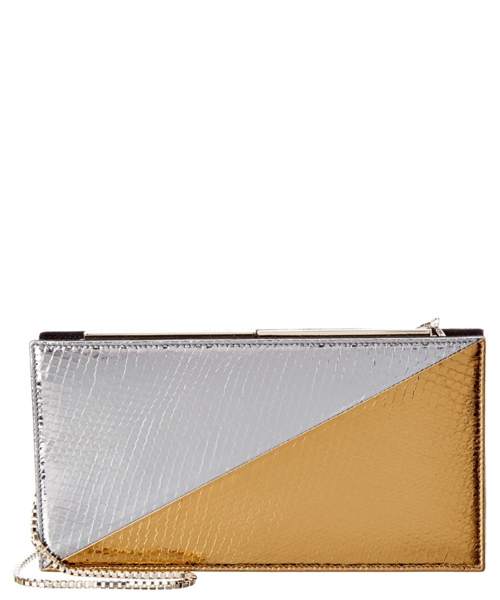 JIMMY CHOO Jimmy Choo Tux Bicolor Metallic Embossed Watersnake Clutch. Was: $1,450. Now: $577.