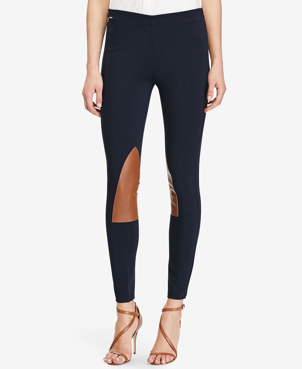 Polo Ralph Lauren Leather-Patch Leggings. Available in navy, black. Macy's. $125.
