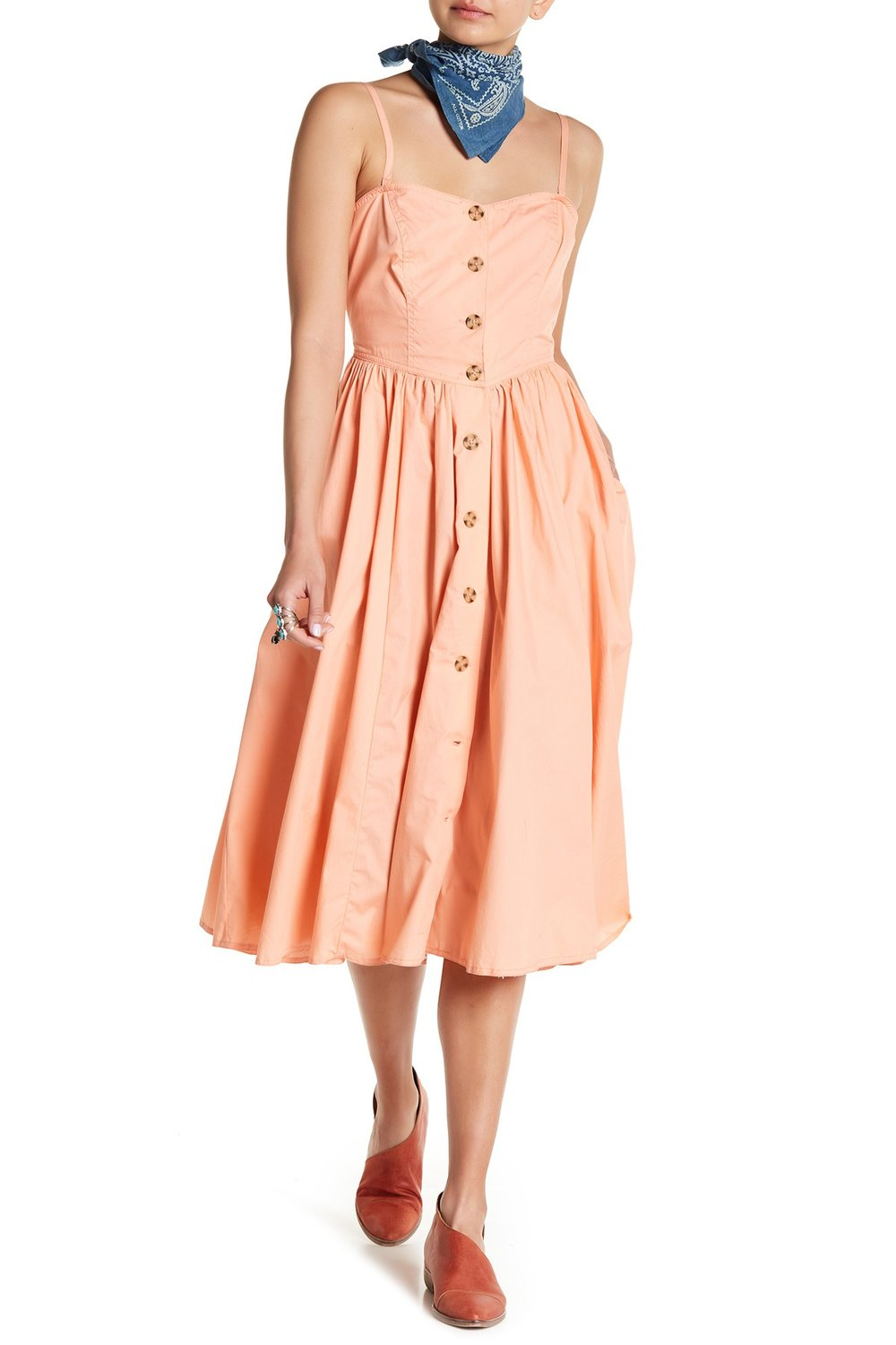 Get ready for more dresses like this one- feminine with an 80's vibe. This is great for a rectangle, hourglass or triangle shaped figure.  Free People Perfect Peach Poplin Mini Dress. Nordstrom Rack. Was: $108. Now: $69.