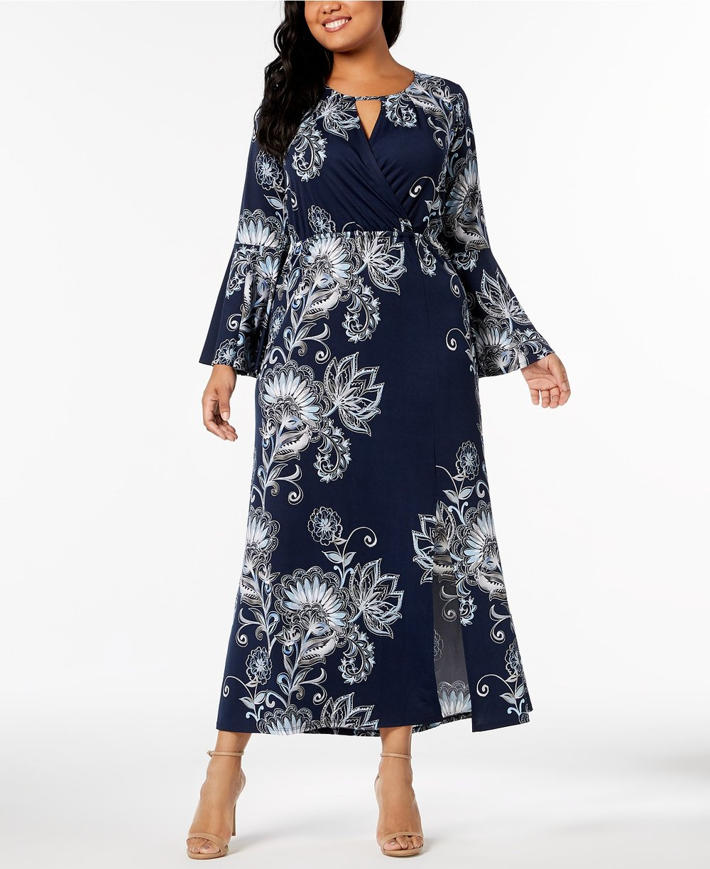 NY Collection  Plus & Petite Plus Size Printed Keyhole Maxi Dress. Macy's.Was: $70. Now: $36.