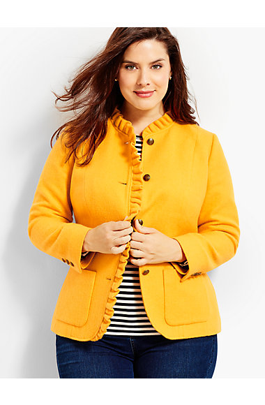 Ruffle-Trim Shetland Herringbone Jacket. Available in yellow, pink. Talbots. Was: $189. Now: $139.