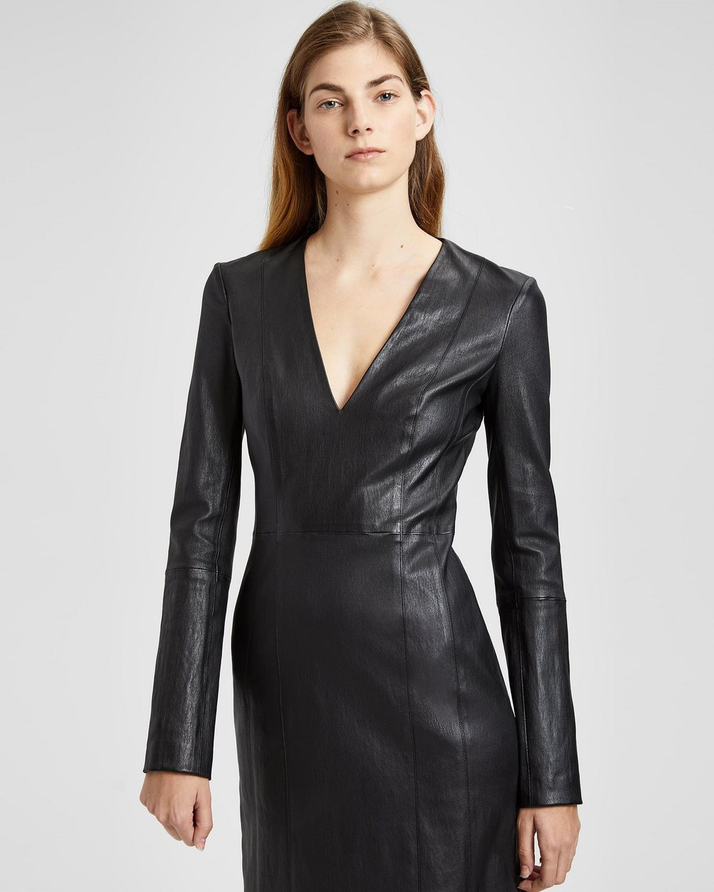 Leather V Neck Mini Dress. Theory. Was: $1,095. Now: $657.