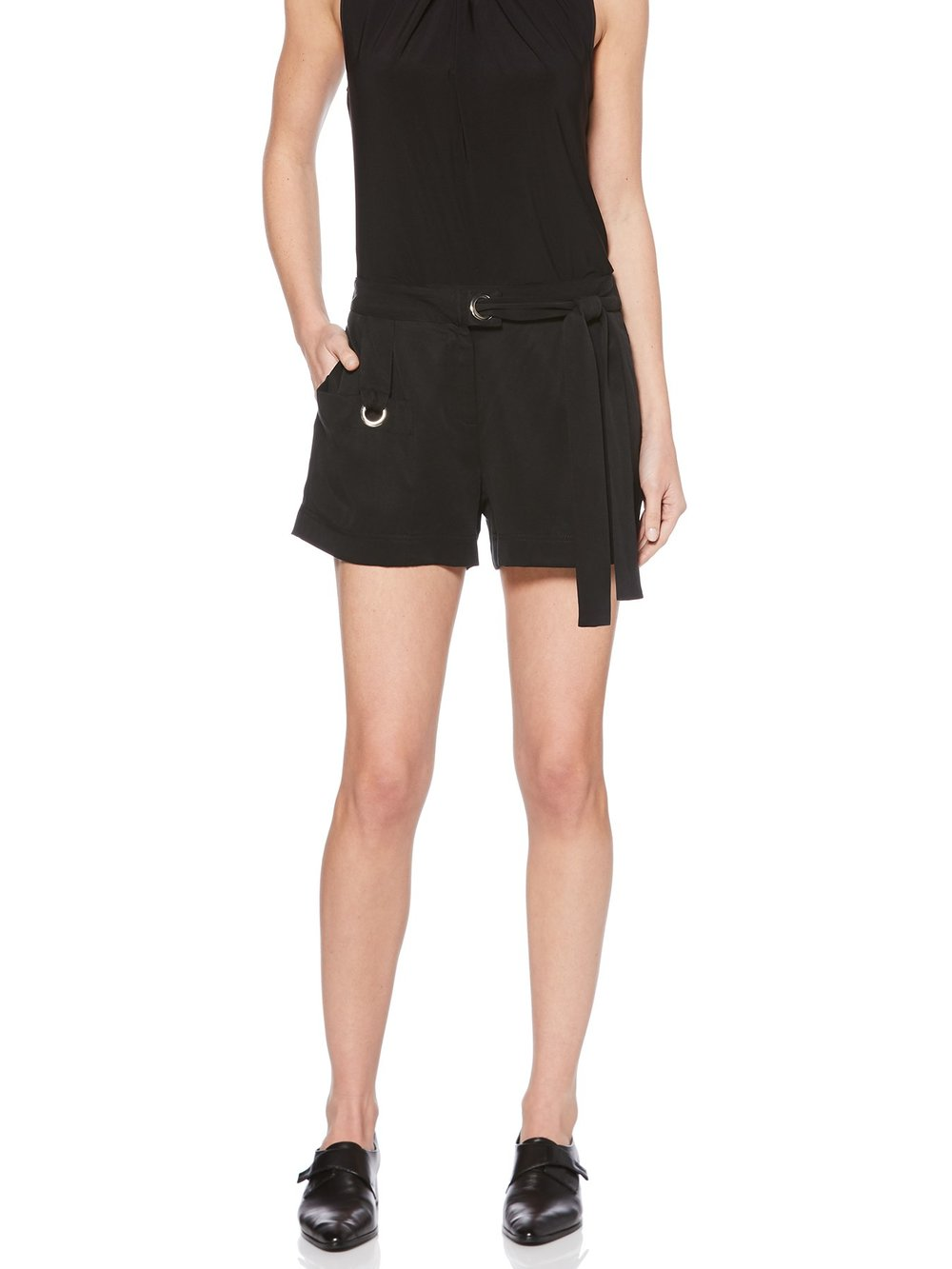 This brand goes up to size 16 and includes jewelry and swimwear. TIE BELT SHORT WITH METAL DETAILS. Available in black, tan. Shelli Segal. Was: $69.