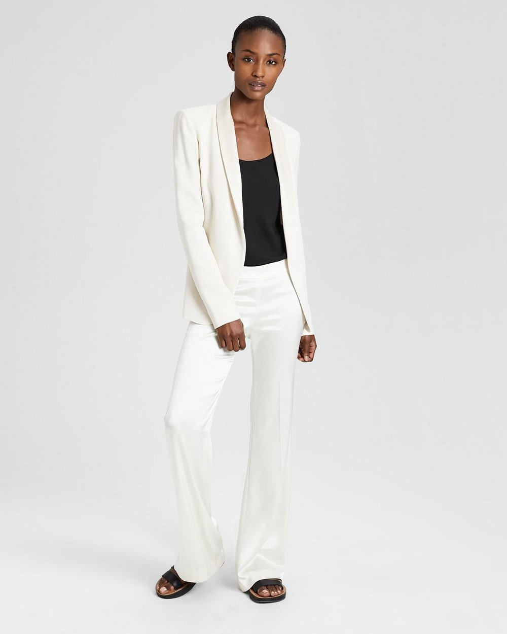 Theory Crepe Fluid Shawl Blazer. $435.Sateen Clean Flare Pant. $365. Theory.