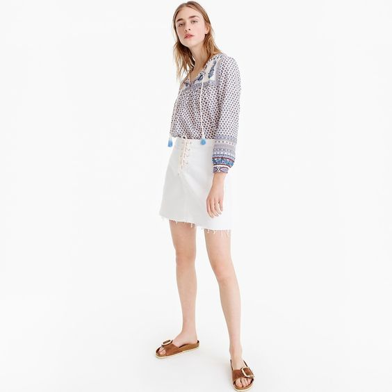 Petite lace-up denim mini skirt with raw hem. Available in petite, regular. J.Crew. Was: $79. Additional 30% off now.