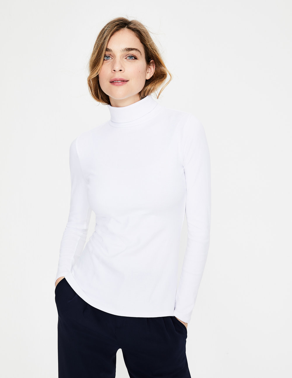 ESSENTIAL ROLL NECK TEE. Available in multiple colors and stripes. Boden. $38.