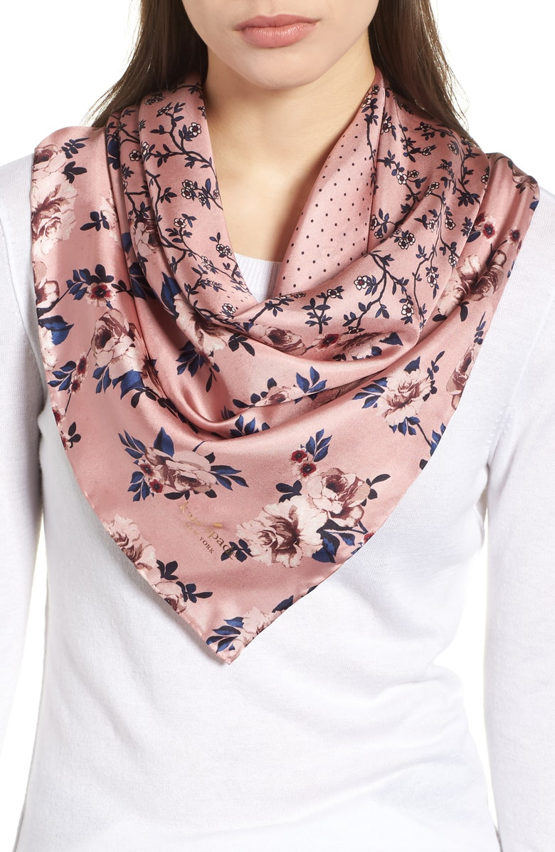 Kate Spade prairie rose patchwork silk square scarf. Available in two colors. Nordstrom. $78.