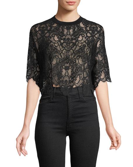 Jonathan Simkhai Lace Combo Crop T-Shirt Top. Neiman's. $295.