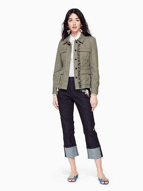 Kate Spade Ruffle army jacket. Kate Spade. Was: $328. Now: $230.