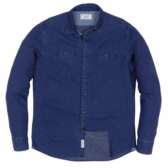 Indigo Dobby Work Shirt . Available in multiple colors. This one has pin dots! Grayers. $98.