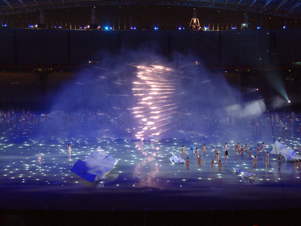 The water curtain and helix at the Athens Olympic Games 2004.