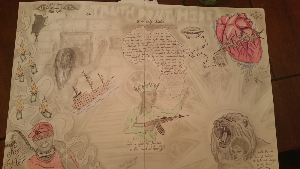 "*Image of a 'lyrical mural' prepared by an inmate of the St. Louis Justice Center; contains original writing (African continent), pencil shadings, crayon and colored pencil work. Inmate developed and dedicated the work to me during my ""Right to Express"" Prison Performing Arts class-- in discussion of a fully envisioned 'Liberation Ideology.'"