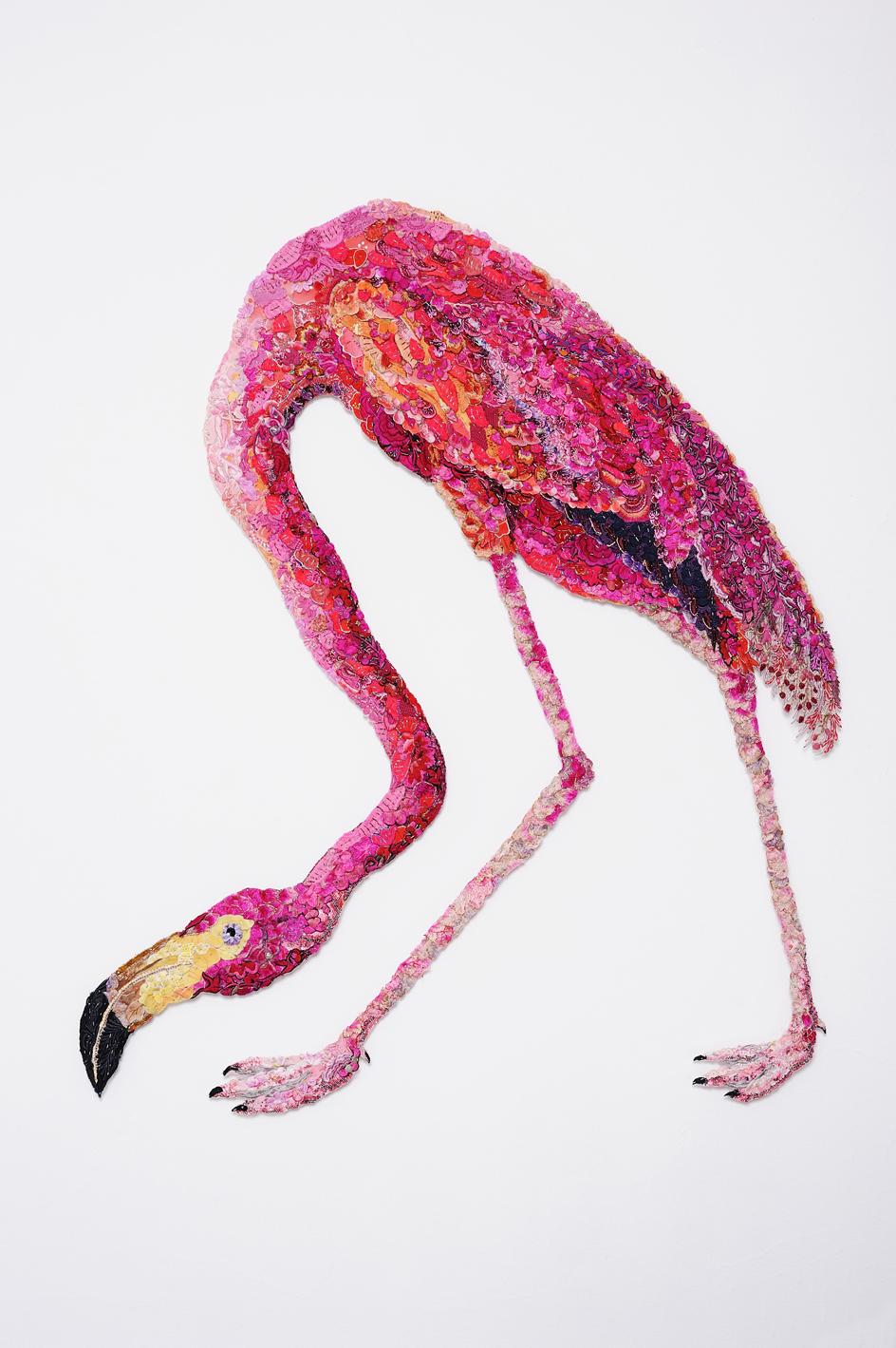Flaming Flamingo 2011 after John James Audubon 1838
