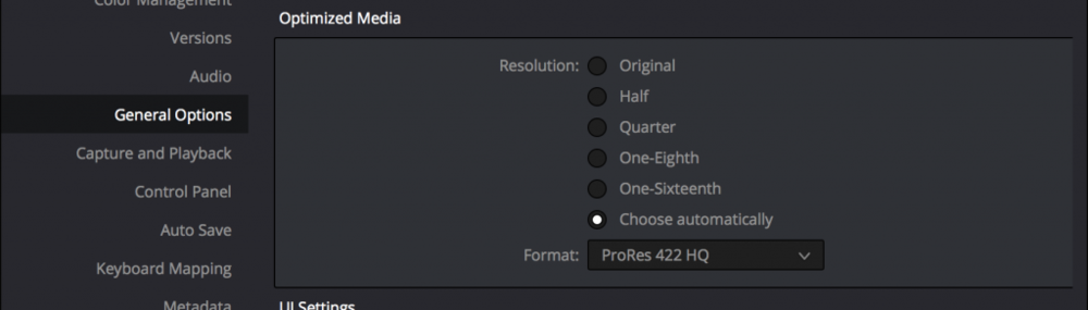 Customizable options for how Optimized Media is created, you can select the format and the size