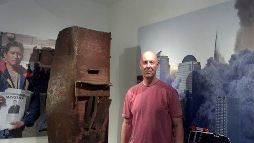 David Meiswinkle in front of the 9/11 Memorial in the Trenton Museum, NJ