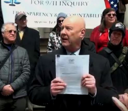 David Meiswinkle, JD presenting the historic 9-11 petition for a grand jury to the people on the steps of City Hall NYC, April 10th, 2018. Back Row - Left is 9-11 family member bob mcllvaine whose son bobby died in the world trade center on 9-11