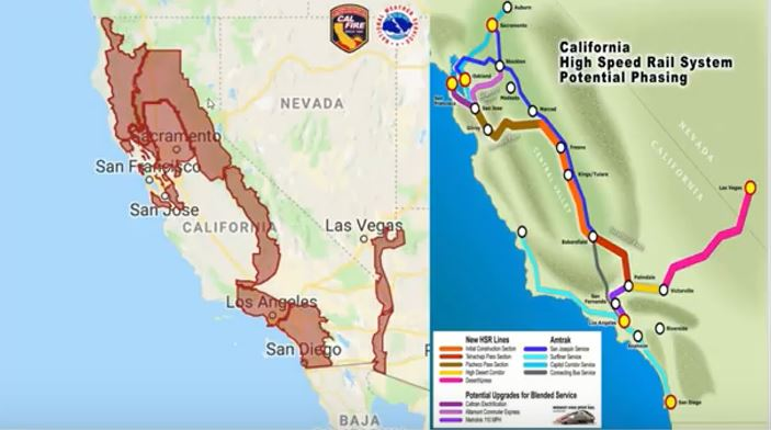 A California fire damage path map sharply correlates to an Agenda 21 high speed rail map