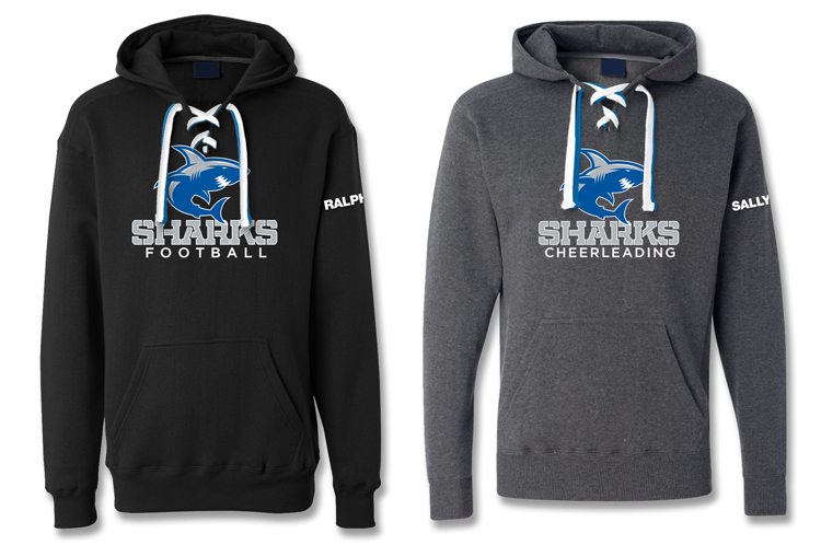 9.5 oz. Premium Fleece, 80% cotton/20% polyester, 3-panel hood, royal & white laces included with each hoodie, hidden cell phone pocket inside pouch, unisex sizes XXS-2XL. SHARKS logo (either football or cheerleading) on front, custom name embroidered on left sleeve.