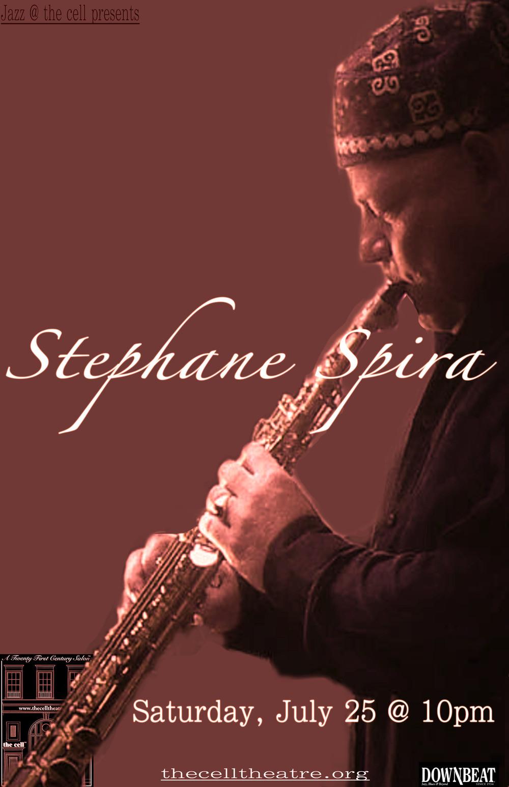 C'est le parcours atypique d'un homme, né en 1966, qui après avoir fait Maths Spé' et être passé brillamment par une école d'ingénieur, s'est retrouvé aux débuts des années 90 en Arabie Saoudite pour exercer avec tout le confort moderne ses talents d'électronicien expatrié. A son retour pourtant, il choisit de tout abandonner et de sauter dans le vide pour accomplir son destin : devenir à temps complet « musicien de jazz ». Comment ? Ensuivant un parcours « à l'ancienne », en autodidacte forcené. En refusant l'école de jazz pour se risquer à l'école « du » jazz. L'école de la nuit et des rencontres imprévues, de la tradition orale, des boeufs « after hours », des initiations amicales avec des musiciens forcément plus forts que lui. Pourquoi ? Parce qu'à 18ans, il avait vécu le choc d'écouter Miles dernière époque. Du coup, il s'engage avec avidité et détermination dans la découverte à rebours de toute l'histoire de cette musique. En 1996 il crée son premier quartet avec le guitariste Jean-Luc Roumier. Avec le saxophone, la composition devient dès lors sa deuxième passion, celle qui lui permet de conjuguer en toute liberté, sa verve mélodique avec sa science poétique de l'harmonie. A cette date il multiplie les relations. Il y a eu d'abord Bernard Rabaud qui l'a repéré lors d'un boeuf au Petit Op' à la glorieuse époque des « Nuits blanches ». Il enregistre en 2006 un premier disque sous son nom : « First Page » (Bee Jazz) avec Olivier Hutman, Philippe Soirat et Gilles Naturel. En 2009, sort « SpiraBassi » en duo avec Giovanni Mirabassi. A partir de janvier 2010, Stéphane s'installe à New York, il revient régulièrement à Paris, et notamment pour enregistrer « Round about Jobim » avec Lionel Belmondo et sa formation « l'Hymne au soleil » qui sortira en avril 2012. 2014 marque la parution de l'album « In Between » dont la musique (et le titre) reflètent 3 ans de va et viens entre Paris et New York. Ce disque est également le premier enregistrement new yorkais de Stéphan