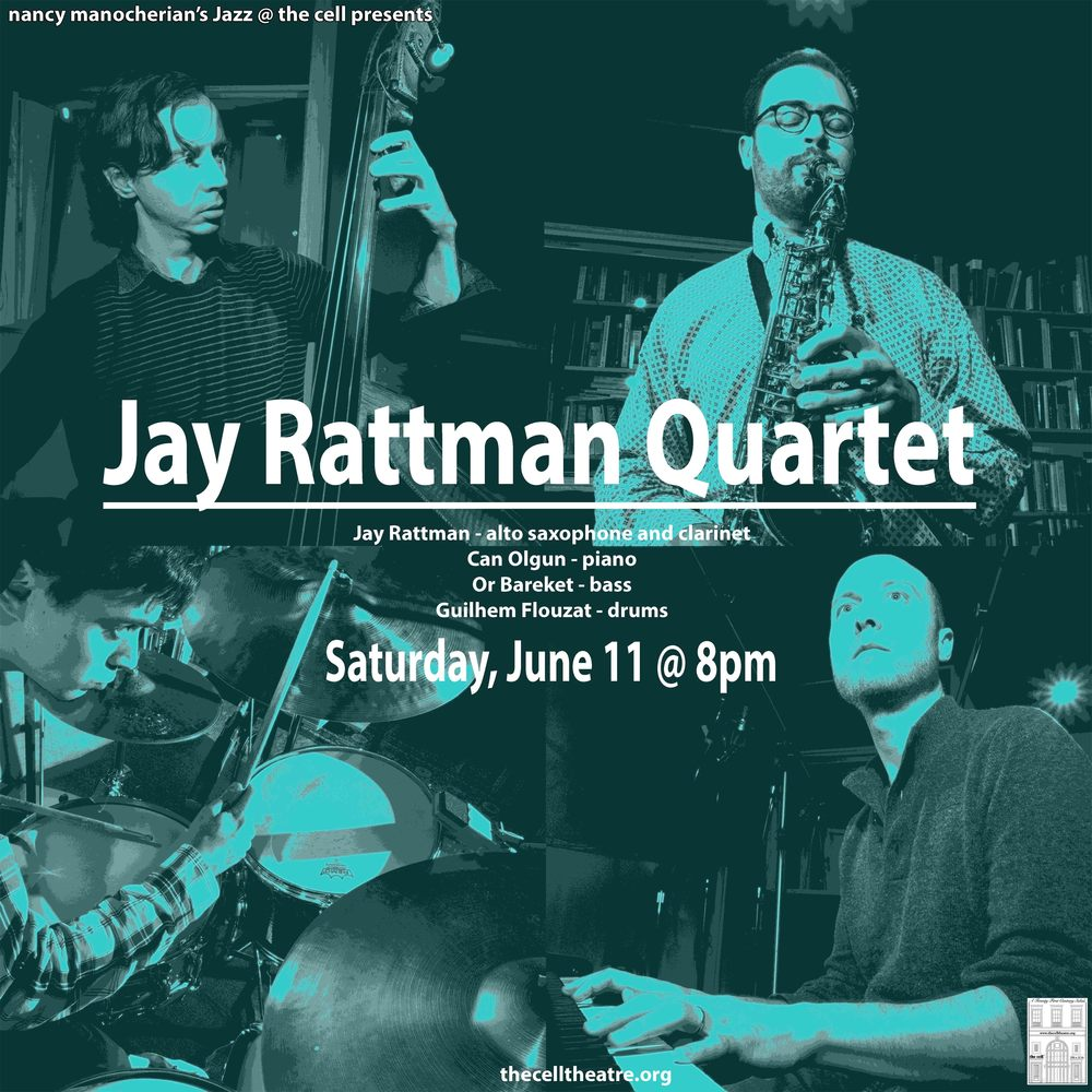 "The Jay Rattman Quartet brings together four of the brightest rising stars of the New York jazz scene today, hailing from around the world to bring a unique sensibility in their collective approach to playing. Their forthcoming debut album, ""In the Towns,"" which takes the title track's name from a phrase in John Steinbeck's ""The Grapes of Wrath,"" is a freewheeling musical exploration of America through the lenses of literature, history, vernacular musical styles, and Rattman's own experiences growing up in Pennsylvania, exploring the Rocky Mountain West, and residing in New York City for the past 10 years. Rattman, hailed by Phil Woods as ""a giant of the future,"" is an accomplished composer and improvisor on saxophone and clarinet. He has recorded on over 20 albums as a sideman. He has also appeared on NPR's Sound of Young America, The Late Show, and The Tonight Show. His efforts as a composer were recognized with an ASCAP Young Jazz Composer's Award. An active member of the German Jazz scene, pianist Can Olgun moved to New York in 2008 to pursue a master's degree at the renowned Manhattan School of Music sponsored by a grant from the German Academic Exchange Service (DAAD). Soon he established himself as a fresh voice on the New York jazz scene. Mr. Olgun worked and played with musicians including David Friedman, Seamus Blake and Mark Turner and tours frequently with many different bands throughout Europe and the US. He was a semi-finalist in the 2010 Martial Solal Piano competition in Paris as well as the 2011 Thelonious Monk International Piano Competition in Washington D.C. Born in Jerusalem and raised in Buenos-Aires and Tel-Aviv, Or Bareket is quickly establishing himself as one of the most versatile bassists on the NYC jazz scene. Winner of the 1st prize at the International Society of Bassists' jazz competition in 2011, Or's diverse heritage informs his distinct style. His approach to improvisation is informed by Mediterranean, South American, and North African folklores, all interpreted through his deep knowledge and appreciation of the American Jazz tradition. Since moving to New York, Or has performed, recorded, and toured with a wide array of artists all over the world. Notable names include Ari Hoenig, Jean-Michel Pilc, The 3 Cohens, Don Friedman, Eliot Zigmund, Billy Hart, and Victor Lewis, as well as younger artists such as Gilad Hekselman, Cyrille Aimee, and Yotam Silberstein. Born and raised in Paris, drummer Guilhem Flouzat moved to New york in 2009. He has collaborated with the likes of saxophone giant Dave Liebman, guitarist Lionel Loueke, multi reed player Steve Wilson, pianist Tigran Hamasyan and guitarist Gilad Hekselman. His sophomore album ""Portraits"" Sunnyside was praised by New York Times as ""smart and agile"", while Thomas Conrad from Jazztimes called Flouzat "" a drummer who operates within an ensemble like a sophisticated composer"". As an accompanist, Flouzat cultivates versatility and often supporting singer Sarah Elizabeth Charles."