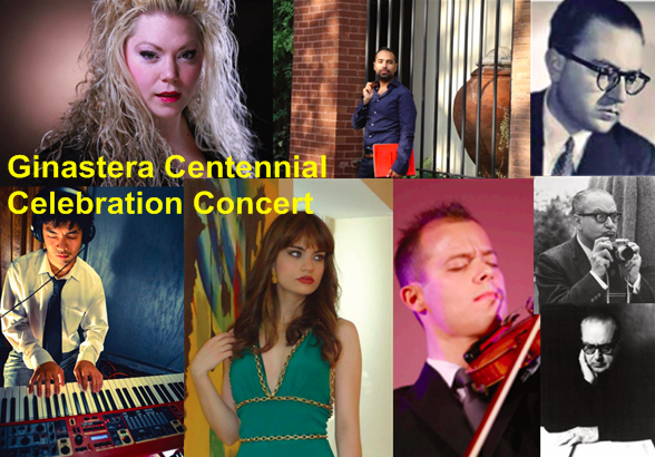 Celebrate the centennial of Argentine composer Alberto Ginastera's birth. This concert will feature works that explore the many sides of the composer's output as well as some little to rarely performed works. Featuring pianists Walter F. Aparicio, Christian Li, Isabel Pérez-Dobarro, violinist Everhard Parades and soprano Amanda Zory.
