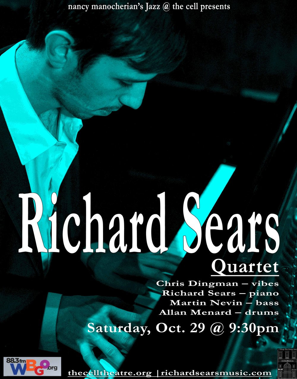 "Brooklyn based pianist, Richard Sears, possesses an original voice as an improvisor and composer. Richard has performed with some of the most important living jazz musicians including Chick Corea, Mark Turner, Joshua Redman, Tootie Heath, and Billy Hart. His composition has been recognized by grants from the Aaron Copland Fund and the Los Angeles Jazz Society. In fall 2015, Richard released his latest trio recording, ""Skyline"", on Fresh Sound Records.  - ""exceptional young trio led by Los Gatos-raised pianist Richard Sears dwells in that sweet spot between tradition and discovery. While many of his contemporaries are casting a wide net for influences, Sears and his bandmates are savvy post-bop explorers dedicated to expanding the jazz idiom from within."" – Andrew Gilbert writes for the  San Francisco Chronicle and the San Jose Mercury - ""Sears' pianistic concept is fully realized, with an austere, Brahms-ian chordal sense and clarity of purpose in his improvised melodies. His confidence boosted by the implicit affirmation of inclusion in bands by Billy Hart, Mark Turner, Ben Street, Tootie Heath, and Roy McCurdy, Sears has successfully migrated to Brooklyn and recorded his debut, Skyline, on the well-respected label Fresh Sound Records.""– Gary Fukushima 