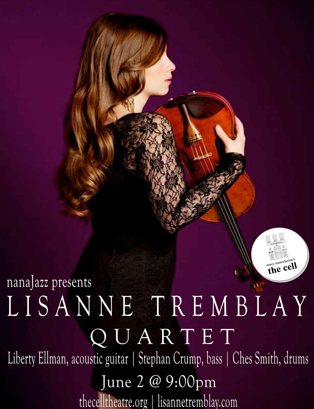 Although still a relatively recent transplant to the New York area, Lisanne Tremblay has developed a tremendous array of fans and collaborators, including Greg Osby and Danilo Perez.  Her quartet (violin, piano, bass, drums) switches things up in terms of the jazz perspective they present, but Tremblay's violin maintains a remarkably consistent voice despite the scene changes.  The end result is that a familiarity is bred with her particular voice that never sits still in presenting unexpected views.  There's some post-bop, some contemporary, some avant-garde(ish) angularity and some jazz-folk.