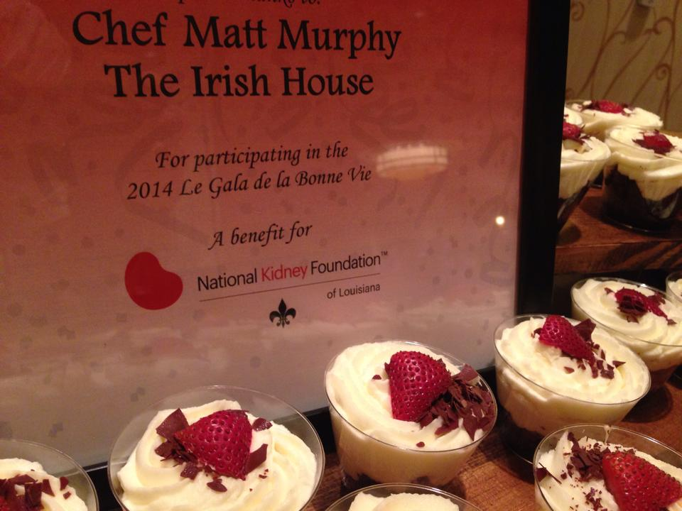 "Guinness Chocolate Trifle's prepared and donated by Chef Matt Murphy for the ""2014 Le Gala de la Bonne Vie"" in support of the National Kidney Foundation."