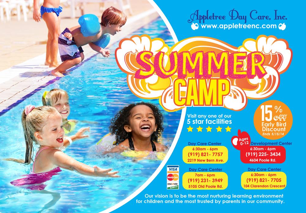 """Summer Camp"" Postcard Appletree Day Care, INC POstcard Design.AI CS6, 2014"
