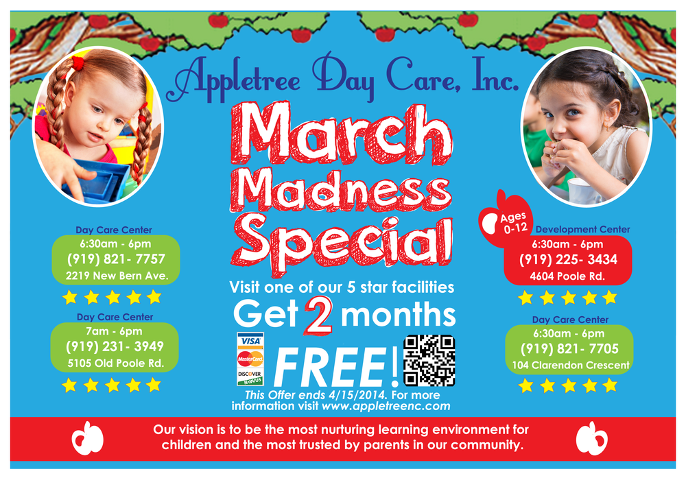 """March Madness"" Postcard Appletree Day Care, inc Postcard Design. AI CS6, 2014"