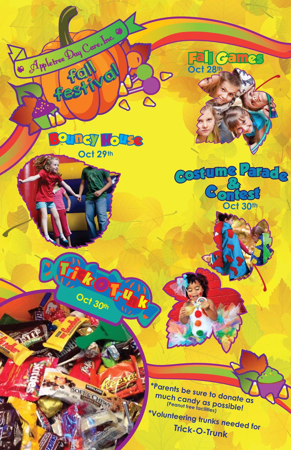 """Fall Festival"" Poster Appletree Day Care, inc Poster Design, Logo Design. AI CS6, 2015"