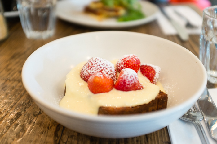 Coconut bread, strawberries and lemon curd cream cheese