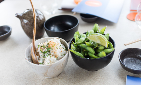 Coconut rice and edamame