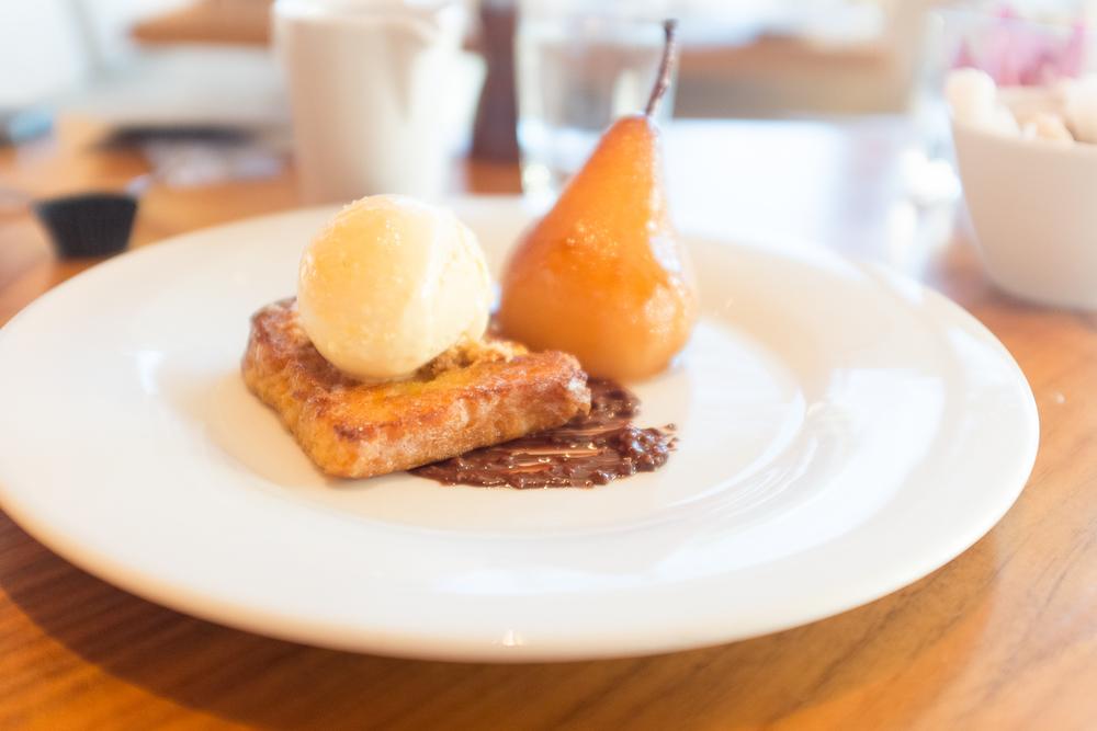 Gypsy toast, glazed Williams pear, honey ice cream and chocolate and hazelnut sauce