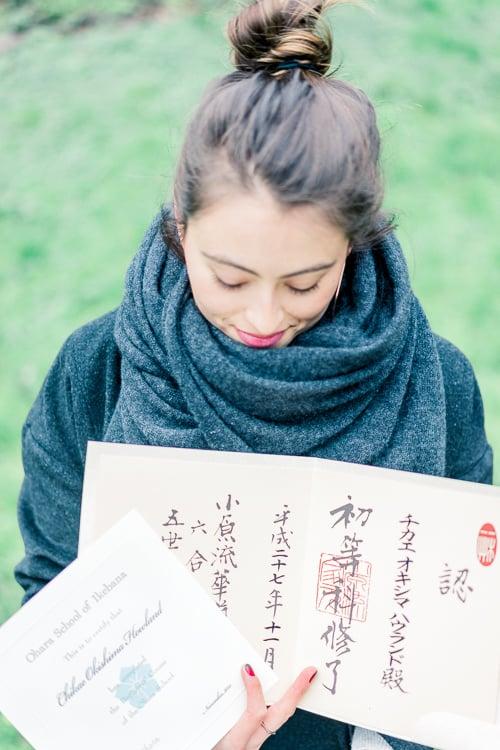 Okishima & Simmonds Ikebana certificate