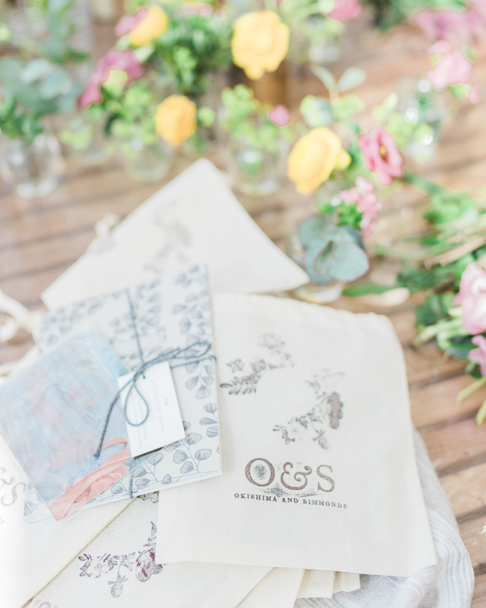 Okishima & Simmonds goody bags for all attendees with Gooseberry Moon notebooks & Lancaster & Cornish ribbon samples.