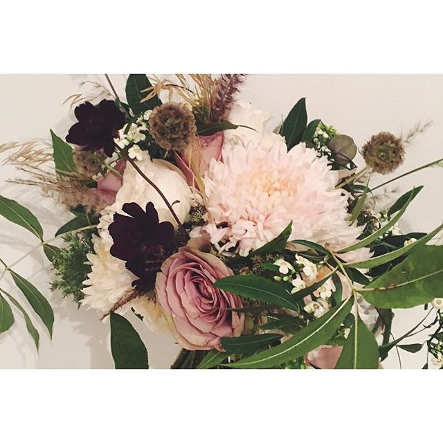 All my faves 💜 Avignon chrysthanths, Amnesia Roses, David Austins, Cosmos, Scabious seed heads, completed by foraged (stolen from the park...🙊) grasses & foliage