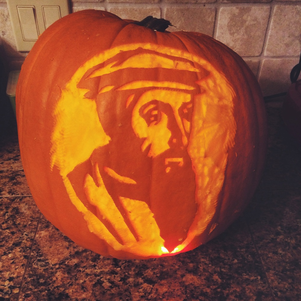 Jimmy's pumpkin carving: John Calvin.  Happy Reformation Day!