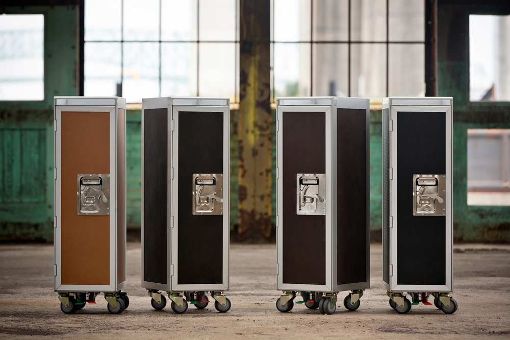 EcoDomo - Leather sheets on airplane carts - Mahogany, Ebony Crocodile, Urban Brown and Toffee.jpg