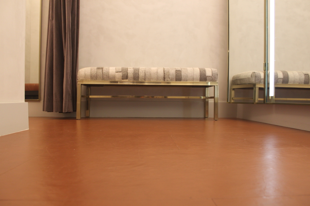 EcoDomo Leather Floor in a Fitting Room - 2 years after installation.JPG