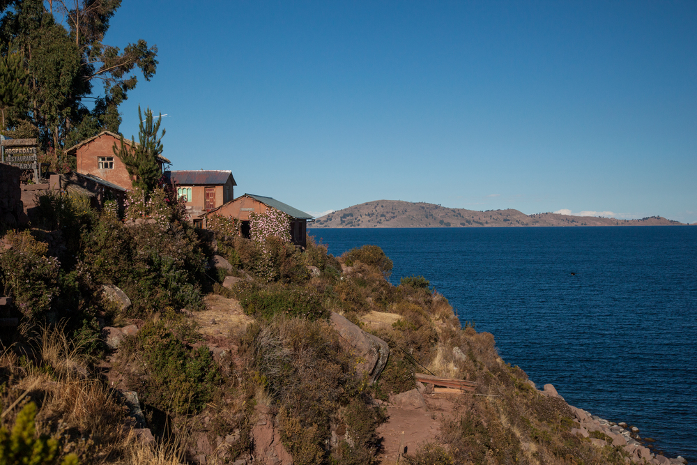 A view of Hospedaje Samray, overlooking Lake Titicaca.